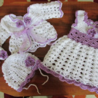 Newborn take home outfit set first outfit take home baby dress sweater shoes hat white lilac baby clothes
