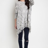 Chunky Knit Sweater With Frayed Edges.Black-White