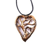 Wooden Heart Pendant, Tree of Life Heart Necklace, Wood Heart Necklace, Tree of Life Pendant, 5th Anniversary Gift, Hand Carved Wood Pendant
