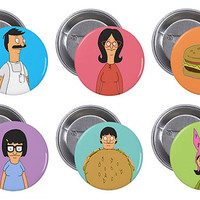 "Bob's Burgers 1"" Pinback Button Set of 6"