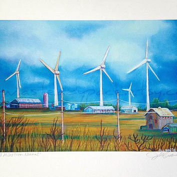 Wind Turbine Rural Farm Scene Art Print - Reproduction of an Original Pastel Landscape Drawing - Title: 83 Miles From Normal