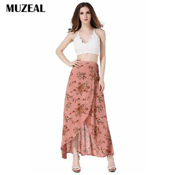 MUZEAL Lace Up Waist Ties High Waist Bohemian Skirts Sexy High Slit Irregular High Low Flower Print Sexy Lady Summer Skirts163