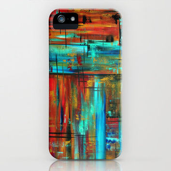 Abstract Art Huge Colorful Turquoise Red Original Contemporary Painting INTO AUTUMN by MADART iPhone Case by Megan Aroon Duncanson ~ MADART   Society6