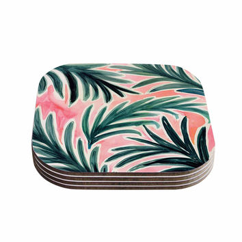 "Crystal Walen ""Lush Palm Leaves "" Green Pink Coasters (Set of 4)"