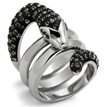 Dominika Black Crystal Snake Ring