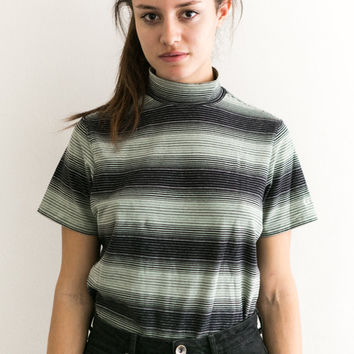90s Striped Shirt / small Stripe Mock Neck / Short Sleeve Stretchy VTG High Neck retro tee Shirt Blouse / 90s Grunge top teal mint green