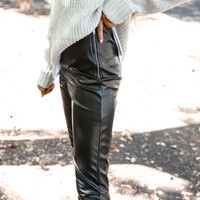 Black Faux Leather Side Zip Pants