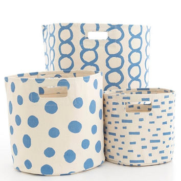 Canvas  French Blue Storage Bins