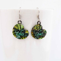 Green Frog Dangle Earrings Painted Charm Earrings Frog Earrings