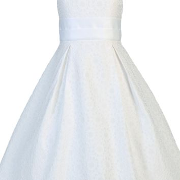 Floral Jacquard Girls A-Line Communion Dress w. Pleated Skirt 7-12 & 8x-12x