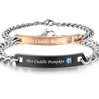 His Hers Matching Set Stainless Steel His Cuddle Muffin Her Cuddle Pumpkin Couple Bracelet in a Gift Box
