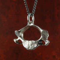 "Vertebrae Necklace Antique Silver Human Vertebra Pendant on 24"" Gunmetal Chain - Anatomical Jewelry"