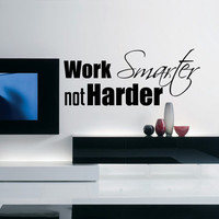 Inspirational Success Wall Decal Work Smarter not Harder 39 x 16 Inches LARGE