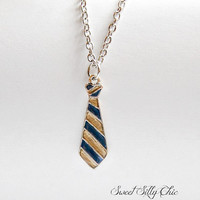 Ravenclaw Tie Necklace, Hand Painted Harry Potter Ravenclaw Tie Short Necklace, Blue Bronze Tie Necklace, Harry Potter Jewelry
