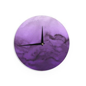"Ebi Emporium ""Winter Waves 9"" Purple Abstract Wall Clock"