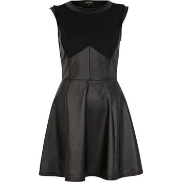 Black leather look jersey panel skater dress