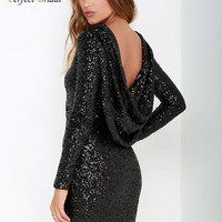 Sexy Formal Lady Gowns 2016 New Short Sheath Black Sequin Mini Dress Abiti Da Cocktail Dress Full Sleeve Backless Robe De Soiree
