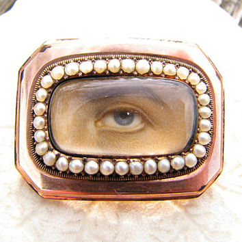 Rare Lovers Eye Miniature Pendant Brooch, 12K Gold with Pearls, Inscribed with Man's Name and Date of 1808, Beautiful Hard to Find Piece