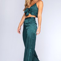 Emerald Dreams Satin Pants