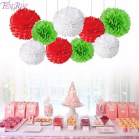 FENGRISE 9pcs 8 10Inch Tissue Paper Pom Poms Mixed Christmas Decorative Flowers Wreaths Christmas Ornaments Home Decor Supplies