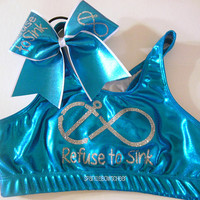 Refuse to Sink Metallic Sports Bra and Bow Set Cheerleading