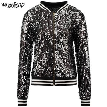Trendy Sparkly Autumn Women Sequin Bomber Jacket Casual Long Sleeve Front Zip Up Casual Coat with Ribbed Cuffs Party Festival Costumes AT_94_13