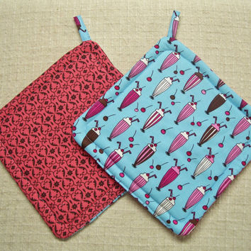 Soda Shop - Insulated Pot Holders - Set of 2 - Ice Cream, Sundae, Novelty, Pink, Blue