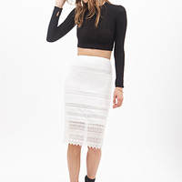 FOREVER 21 Lace-Paneled Pencil Skirt