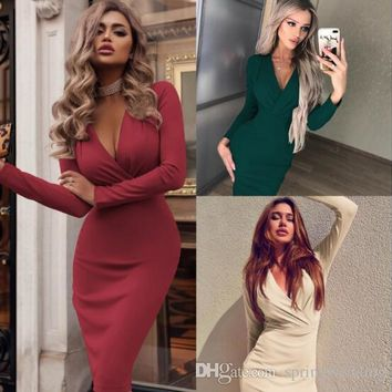 Hot Selling 2019 Sheath Mermaid Women Pencil Dresses Deep V Neck Long Sleeve Slim Bodycon Dress Pub Cocktail Gowns