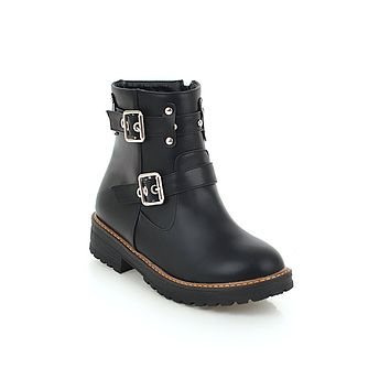 Buckle Pu Leather Fall Winter Ankle Boots Women Shoes 4007