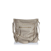 River Island Womens Beige zip trim messenger bag