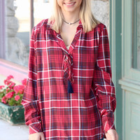 Loose Ruffle + Tie Plaid Blouse {Red Mix}