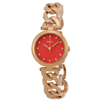 Fossil Olive Red Dial Rose Gold-tone Ladies Watch ES3581