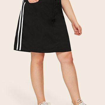Plus Contrast Taped Side Denim Skirt