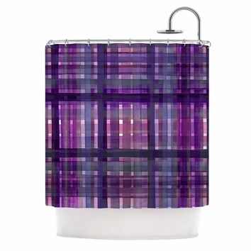 "Ebi Emporium ""PLAID FOR YOU, PURPLE MULTI"" Purple Lavender Stripes Pattern Mixed Media Painting Shower Curtain"