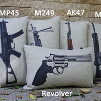 1pc 50x30cm Famous Gun Assortment Cushion Cover Retro Nostalgic Military Fan AK47 ump45 M16 Rifle Shooter Revolver M249