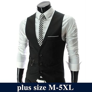 2017 Fashion Suit Vest Men Hot Sale Formal Dress Vest Brand Clothing Quality Fitness Business Sleeveless Jacket Waistcoat Men