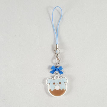 Puppy, dog, donut, food, dessert, phone charm, cute, kawaii, anime, zipper charm, keychain, acrylic charm, blue