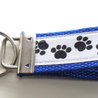 Black Paw Prints Mini Key Fob Blue Webbing