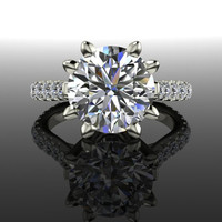 Forever Brilliant Moissanite and Diamond Engagement Ring 3.69 CTW