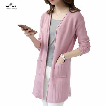 Knitted Cardigans Women 2017 New Poncho Long Sleeves Solid Open Stitch Cardigan Female Long Cashmere Sweaters Outerwear OK07V