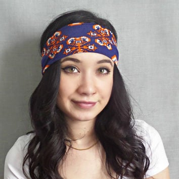 Printed Headwrap, Bohemian Hair Accessories, Yoga Headband ,Hippie Headband, Blue and Orange