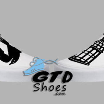 Hand Painted Vans. BioShock, Bird or Cage shoes. First person shooter. Game. Handpainted shoes