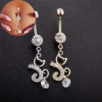 Gussiarro Cat Sandy Beach Party  Gold-Color Navel Percing Piercing Umbigo Clear Cubic Zirconia  Belly Button Rings Woman