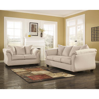 Darcy Living Room Set in Stone Fabric