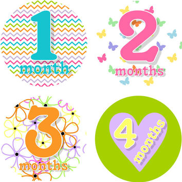 Baby Month Stickers Baby Monthly Stickers Girl Monthly Shirt Stickers Multi Print Baby Shower Gift Photo Prop Baby Milestone Sticker