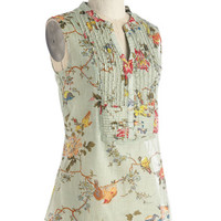 On Your Roam Time Tunic in Aviary | Mod Retro Vintage Short Sleeve Shirts | ModCloth.com