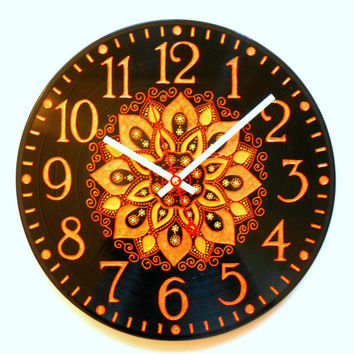 Wall Clock Unique Clock Home Decor Round Clock Kitchen Clock Art Clock Orange Clock Vinyl Clock Hand Painted Clock Record Clock Dot Painting