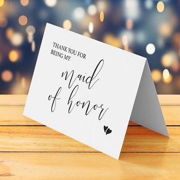 Thank you for being my maid of honor card printable, Thank you note to maid of honor, Wedding thank you card DIY thank you card downloadable