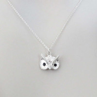Black, Eyes, Bead, Sterling silver, Chain, Owl, Necklace, Lovers, Best friends, Mom, Sister, Gift, Accessory, Jewelry